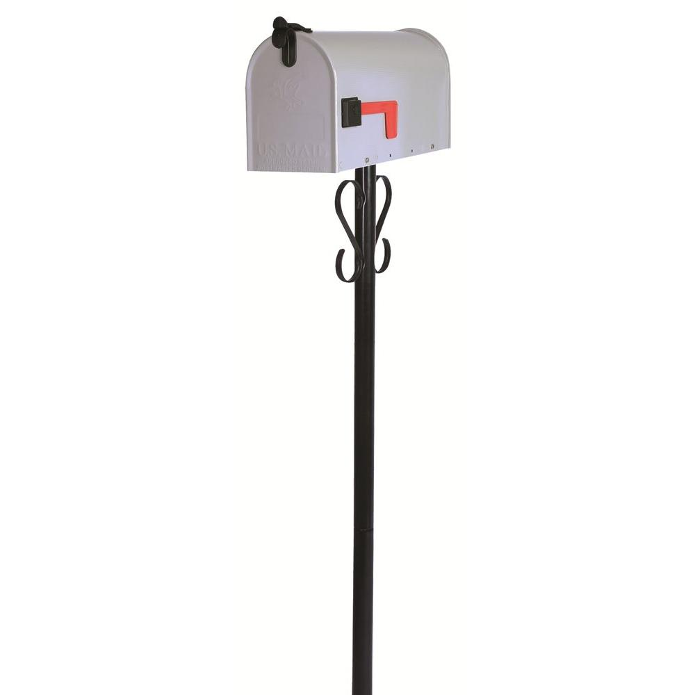 Gibraltar Mailboxes Stilwell Standard Gray Steel Mailbox And Black Round Steel Post With Decorative Scrolls Combo