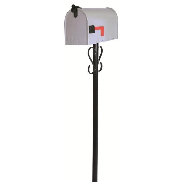 Stilwell Standard Gray Steel Mailbox and Black Round Steel Post with Decorative Scrolls Combo