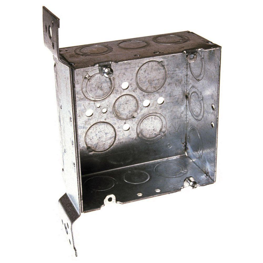 4-11/16 in.Welded Square Electrical Box, 2-1/8 Deep with 1/2 and 3/4