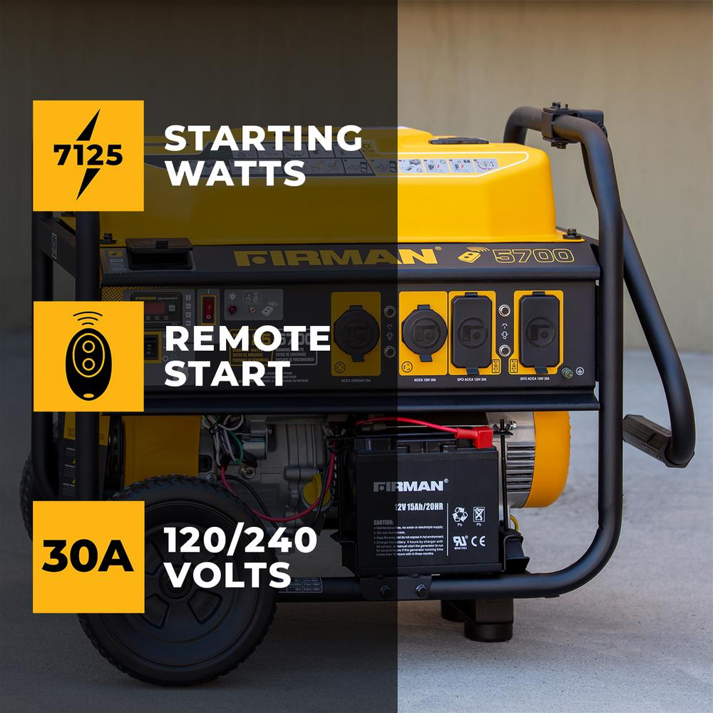 Firman 7100/5700-Watt 120/240V Remote Start Gas Portable Generator