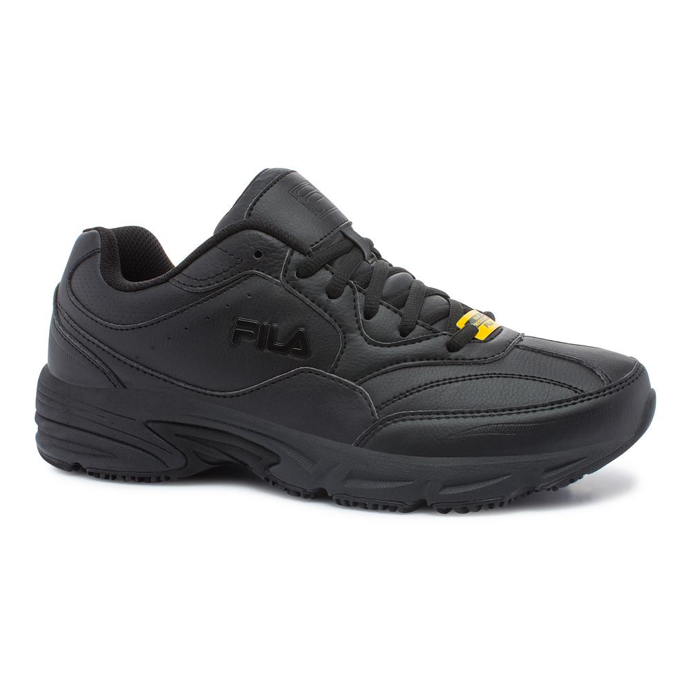 Fila Men's On The Job Slip Resistant Athletic Shoes Soft Toe BLACK Size 12(M)