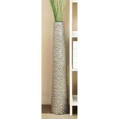 40 in. Ceramic Decorative Vase in Hammered Finish