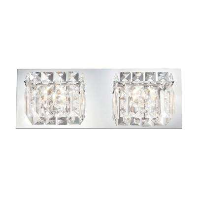 Crown 2-Light Chrome and Clear Crystal Glass Vanity Light