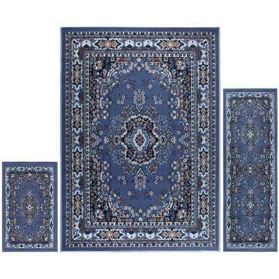 Ariana Country Blue 5 ft. x 7 ft. 3-Piece Rug Set