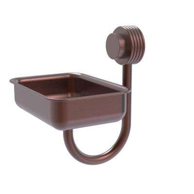 Venus Collection Wall Mounted Soap Dish with Groovy Accents in Antique Copper