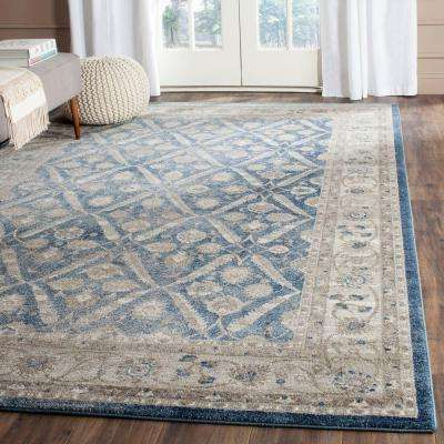 Sofia Blue/Beige 6 ft. 7 in. x 9 ft. 2 in. Area Rug