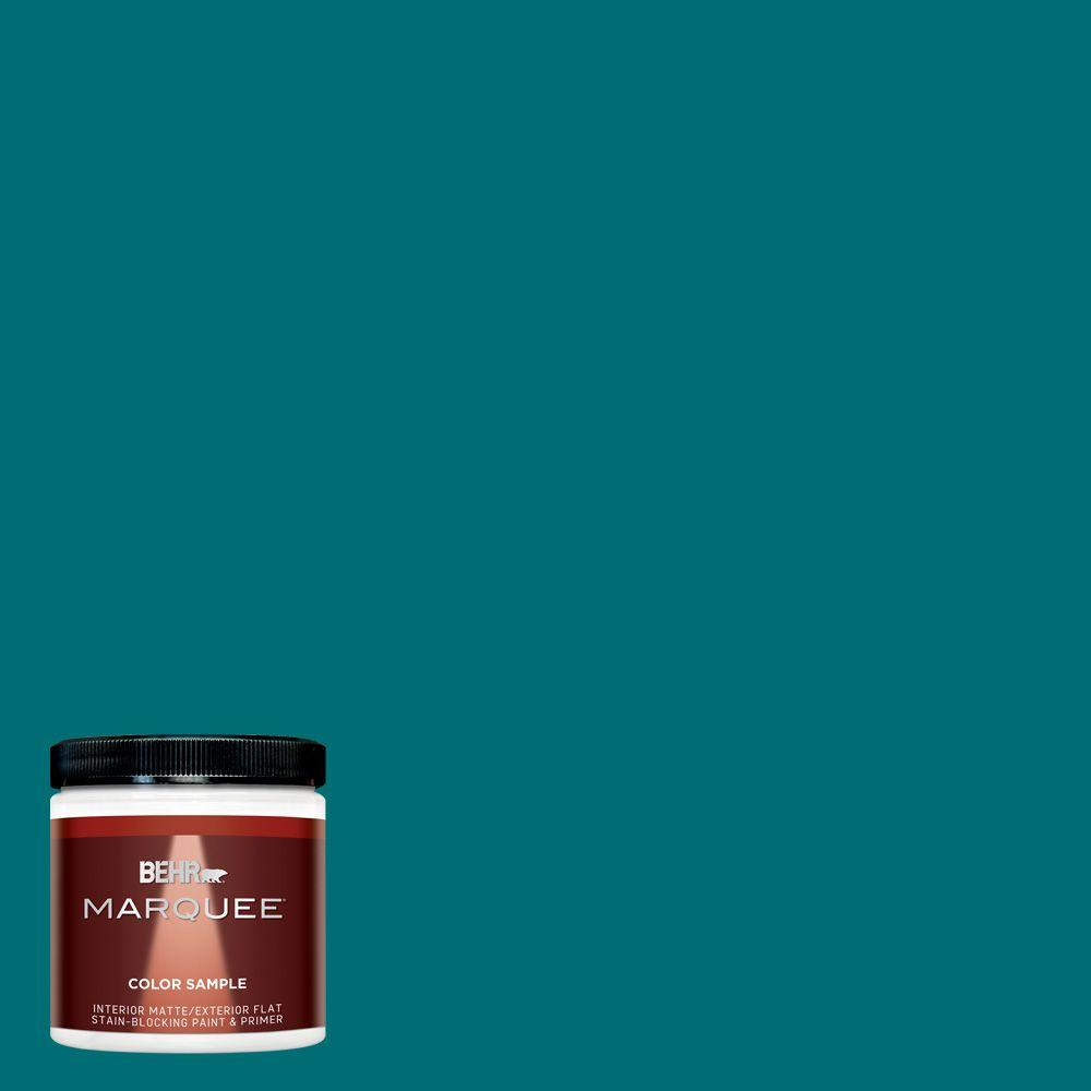 BEHR MARQUEE 8 oz. #MQ6-35 Teal Motif One-Coat Hide Matte Interior/Exterior  Paint and Primer in One Sample