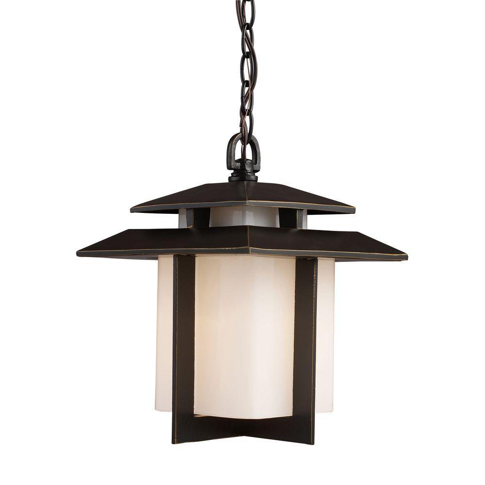 Titan Lighting Kanso 1-Light Hazelnut Bronze Outdoor Hanging Pendant