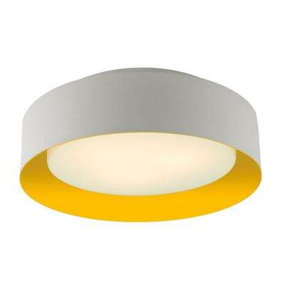 Lynch White and Yellow Flush Mount