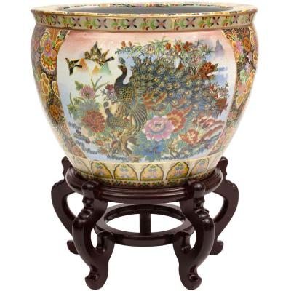 Oriental Furniture 16 in. Famille Rose Porcelain Fishbowl