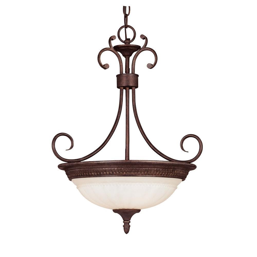 3-Light Walnut Patina Liberty Pendant