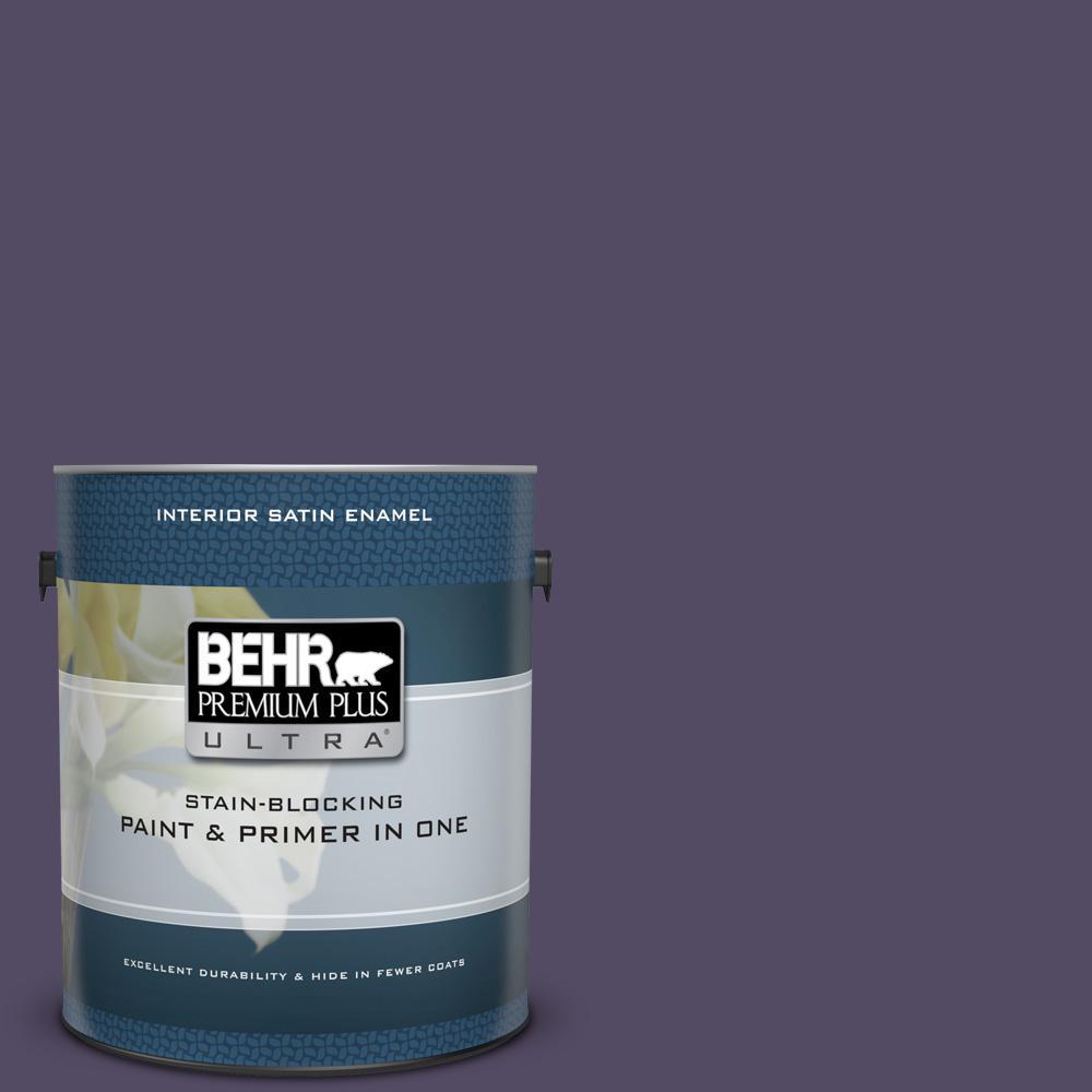 Behr premium plus ultra 1 gal mq5 38 illusionist satin enamel interior paint and primer in one for Behr interior paint and primer in one