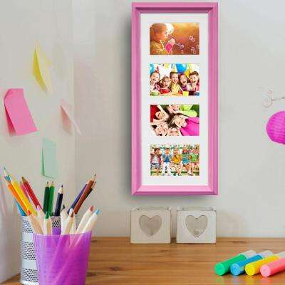 4-Opening Vertical Pink Collage Picture Frame