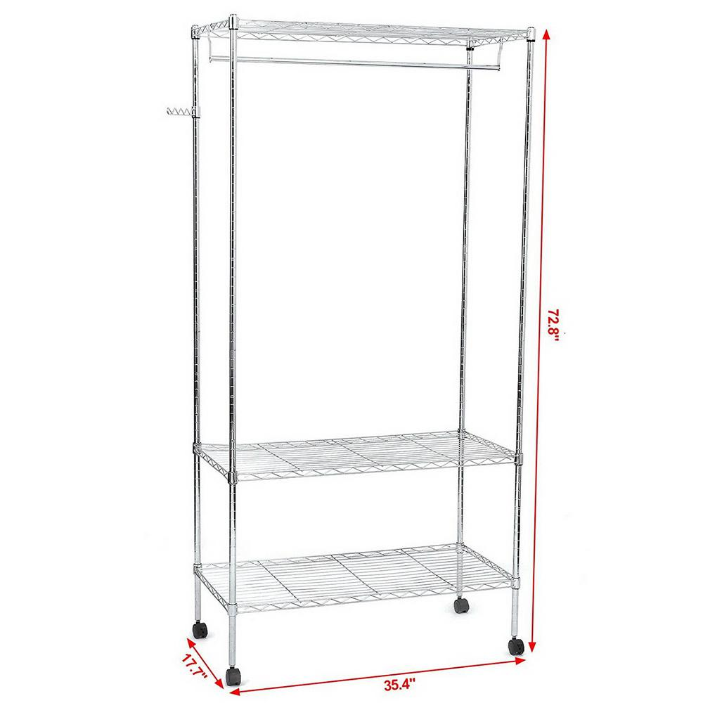 35 in. x 71 in. Silver Carbon Steel Garment Rack