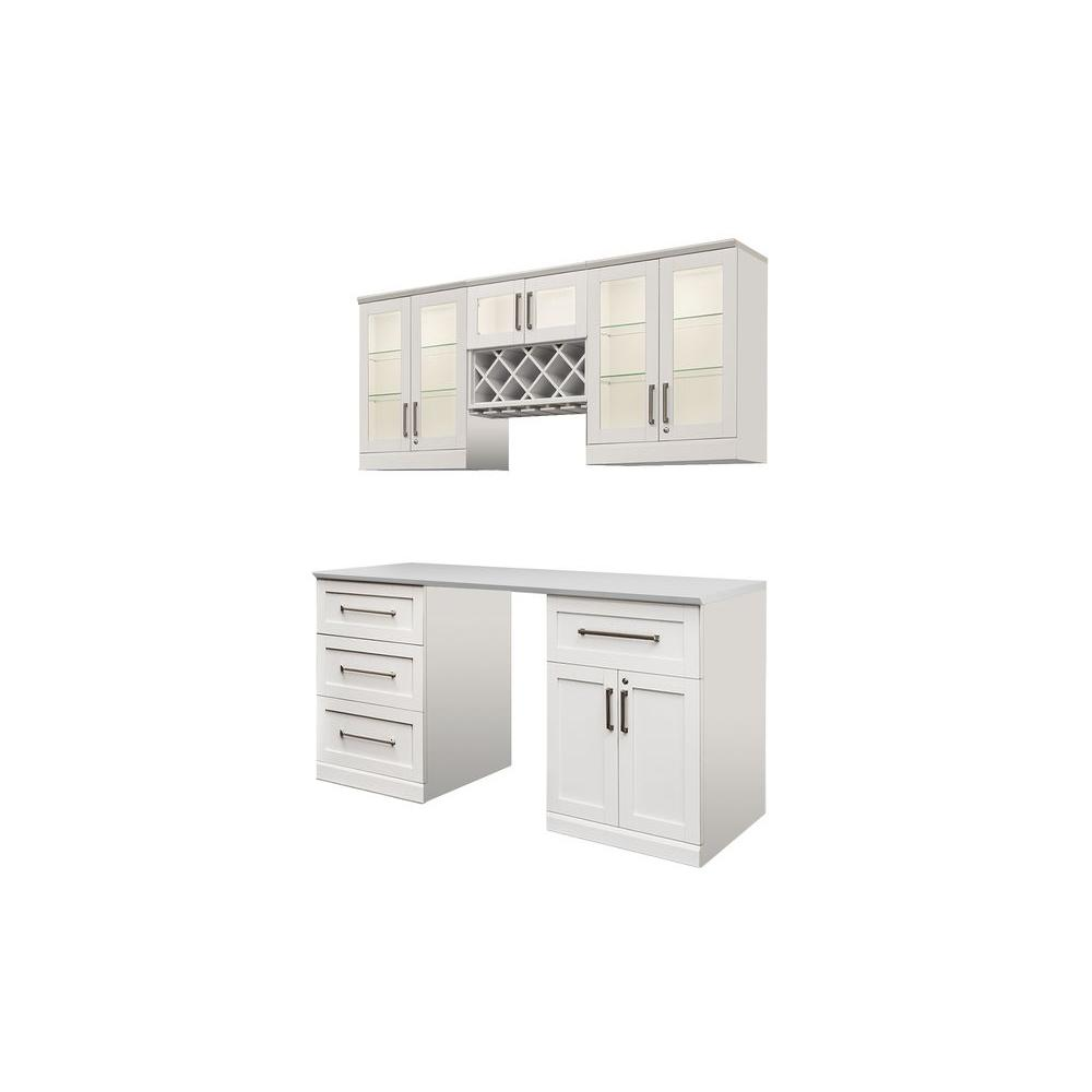 White Kitchen Cabinets Set: NewAge Products Home Bar White 6-Piece Shaker Style Bar