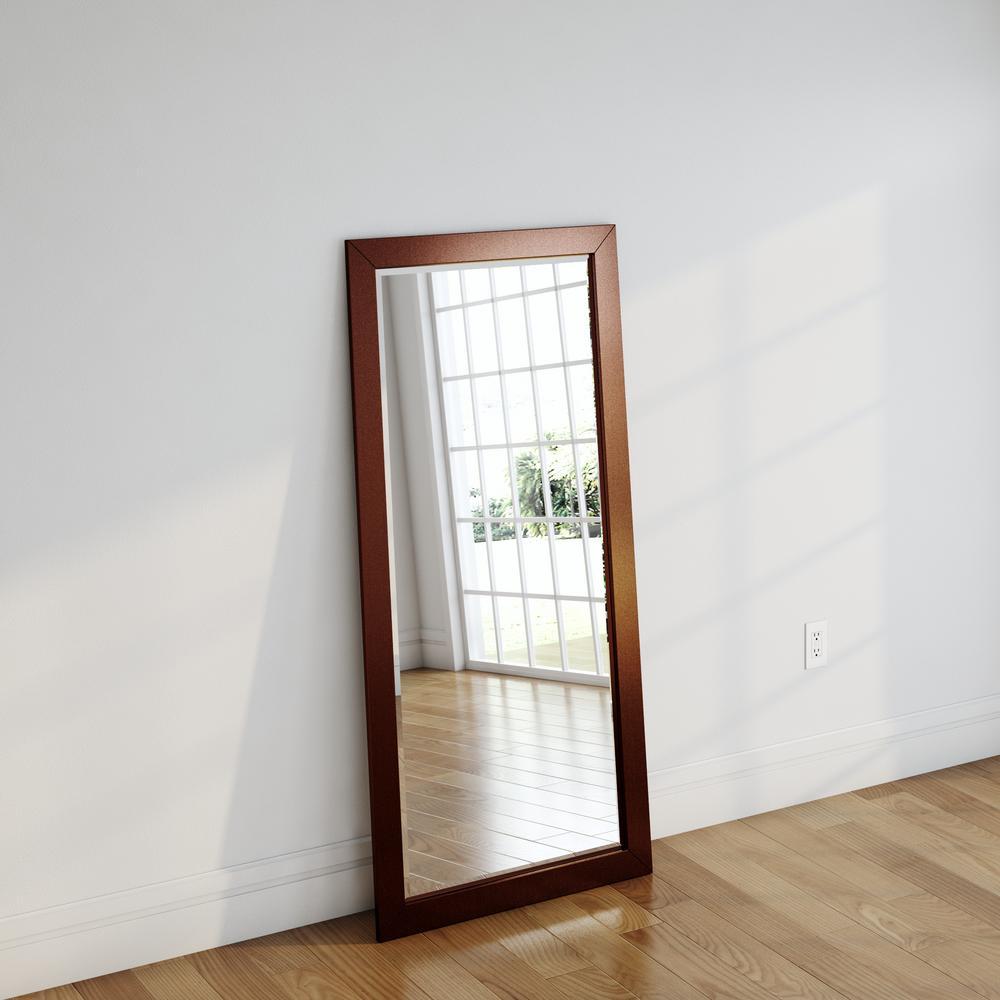 Shiny bronze beveled floor mirror