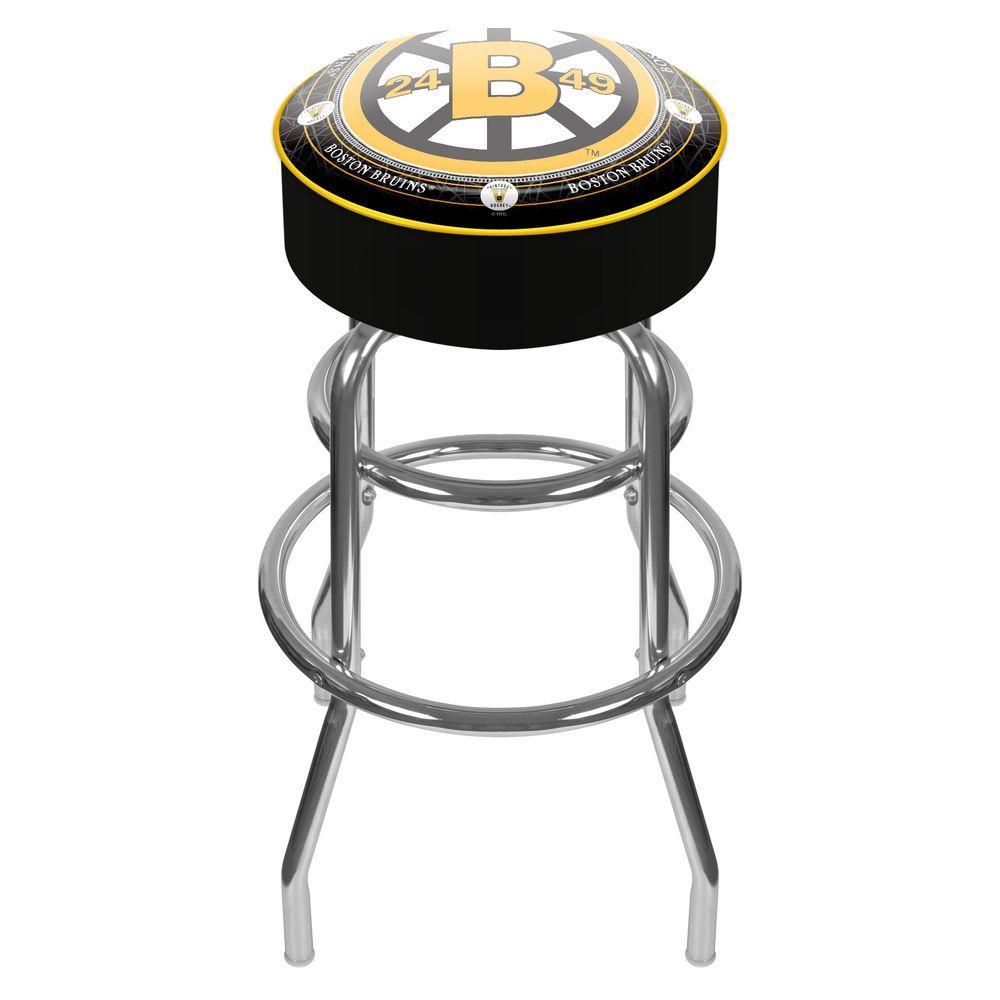NHL Throwback Boston Bruins 31 in. Chrome Padded Swivel Bar Stool