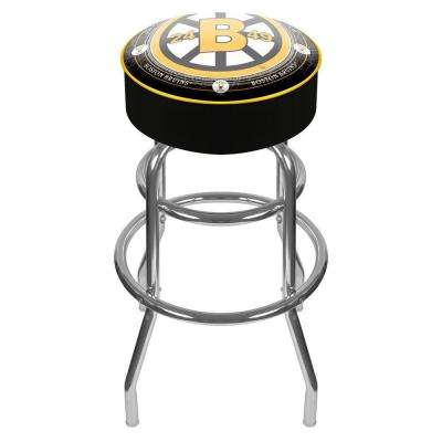 NHL Throwback Boston Bruins 31 in. Chrome Padded Swivel Bar Stool