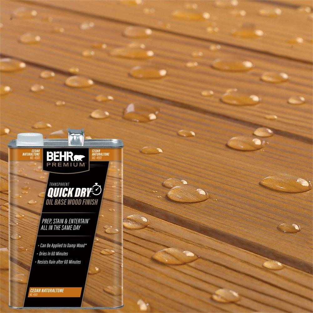 BEHR Premium 1 gal. Transparent Quick Dry Oil Base Wood Finish Cedar Naturaltone Exterior Stain