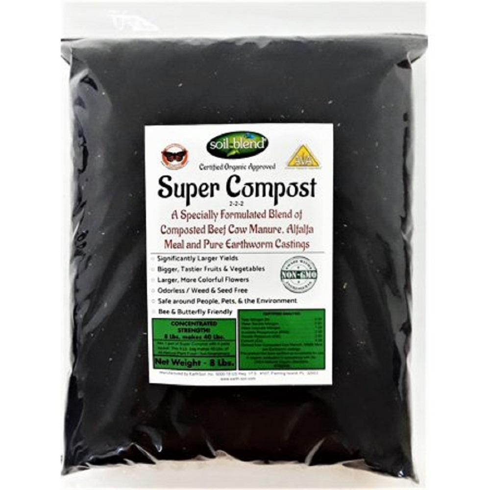 Soil Blend Super Compost 8 lbs. Concentrated 8 lbs. Bag makes 40 lbs. Organic Planting Mix, Plant Food and Soil Amendment