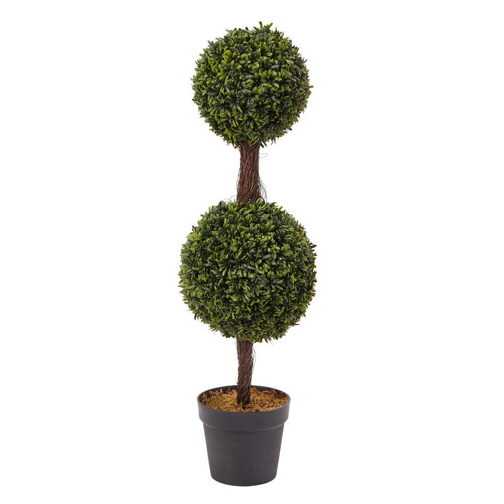 36 in. Artificial Double Ball Podocarpus Topiary