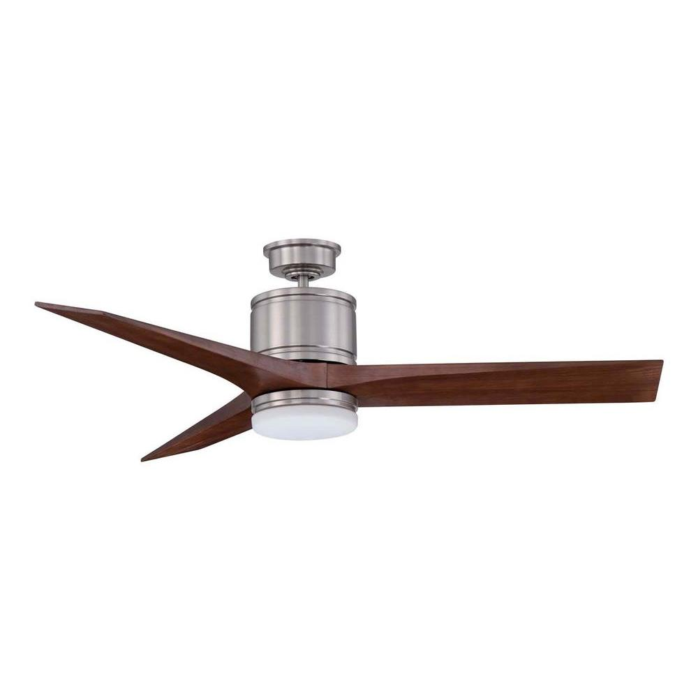 Satin Nickel Ceiling Fan With Carved Wood Blades