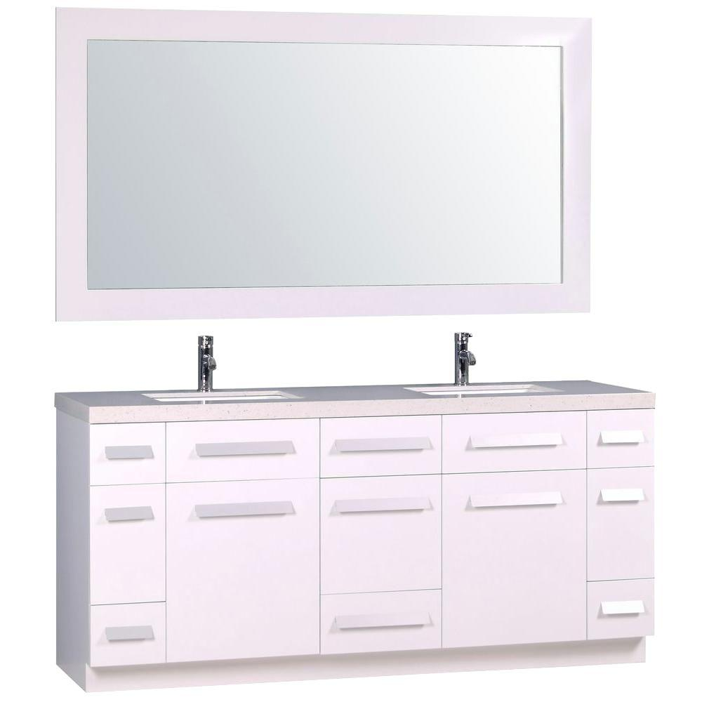 Design Element Moscony 72 in. W x 22 in. D Double Vanity in White ...