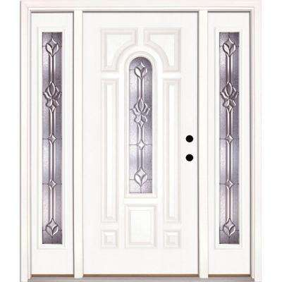 63.5 in.x81.625 in. Medina Zinc Center Arch Lite Unfinished Smooth Left-Hand Fiberglass Prehung Front Door w/ Sidelites