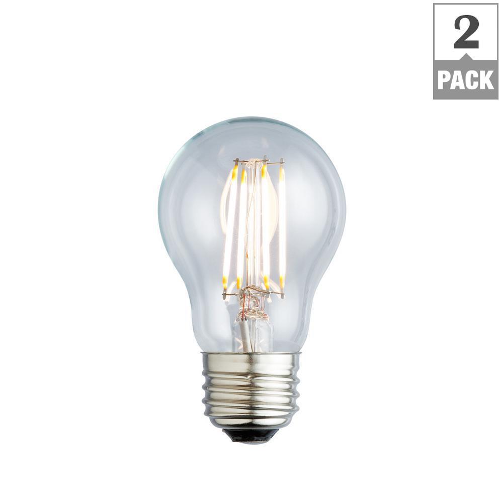 40W Equivalent Warm White A17 Clear Lens Nostalgic LED Light Bulb (2-Pack)