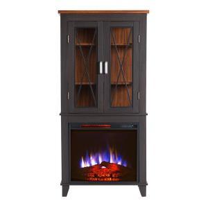 Bold Flame Concord 30 inch Display Cabinet Electric Fireplace in black with Walnut accents by