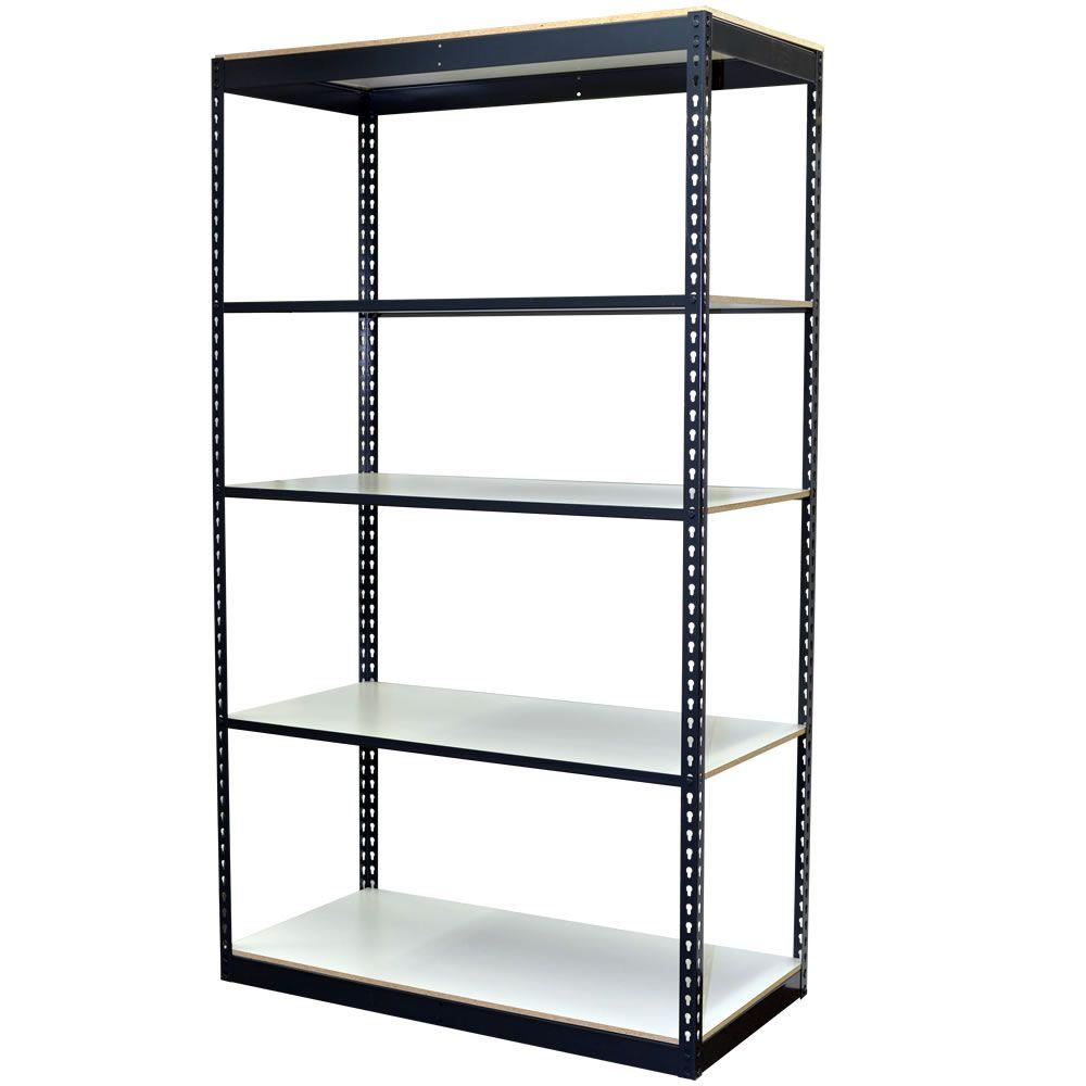 Storage Concepts 84 in. H x 48 in. W x 24 in. D 5-Shelf Steel Boltless Shelving Unit with Low Profile Shelves and Laminate Board Decking