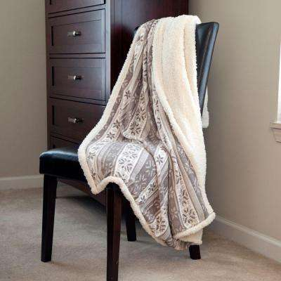 Gray Snowflakes Fleece Sherpa Polyester Throw Blanket