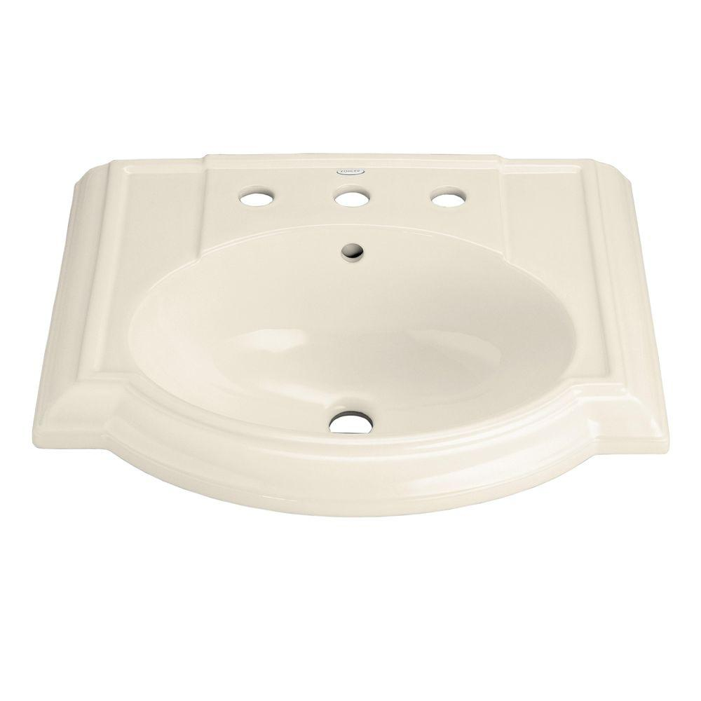KOHLER Devonshire 4-7/8 in. Vitreous China Lavatory Basin in Almond with Overflow Drain
