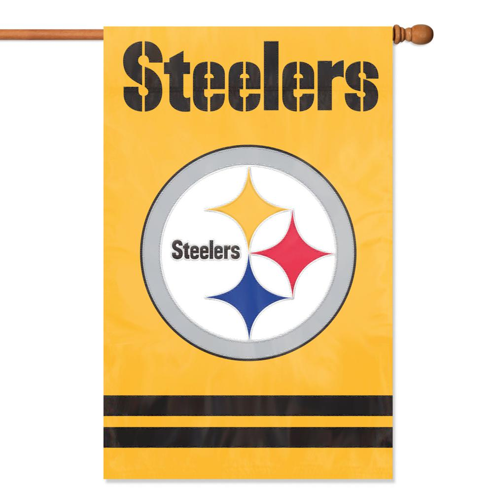 Party Animal Pittsburgh Steelers Applique Banner Flag