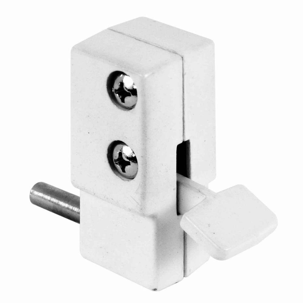 Prime line patio white step on sliding door lock u 9879 for Home depot sliding door lock