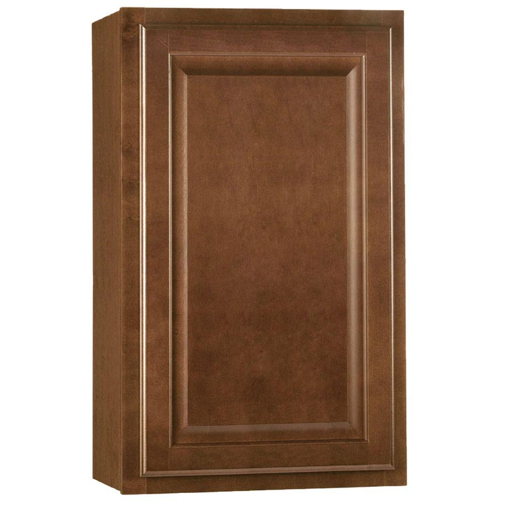 Hampton bay hampton assembled 18x30x12 in wall kitchen cabinet in cognac