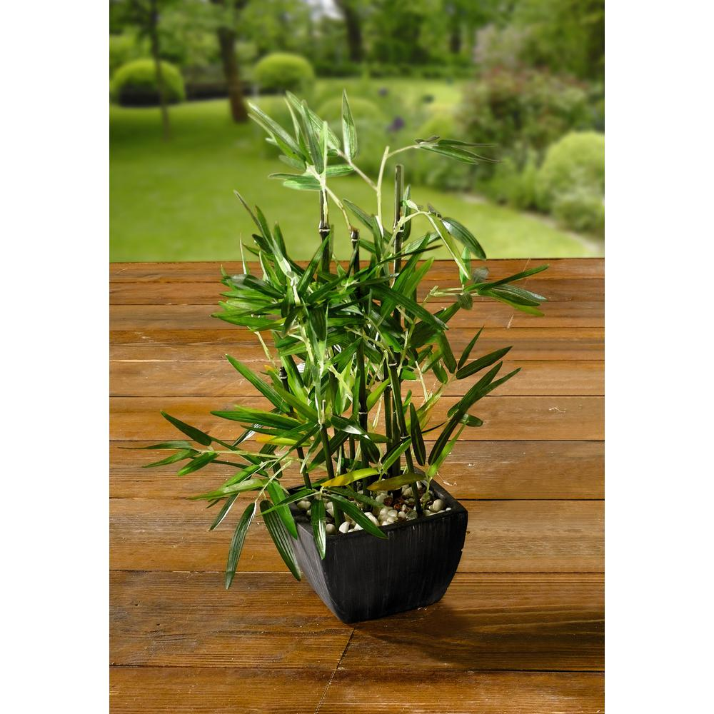 Artificial Bamboo Plant In Pot With River Stones