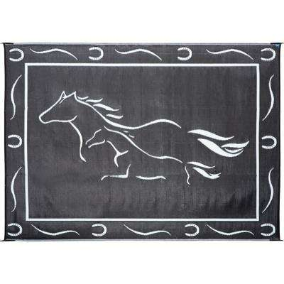8 ft. x 18 ft. Black/White Galloping Horses Reversible Mat