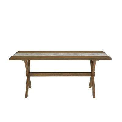 Deedra Weathered Walnut Dining Table with Faux Gray Concrete Center