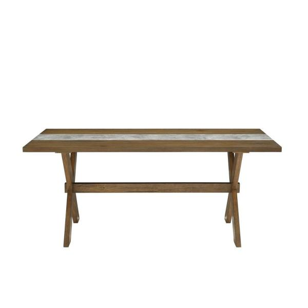 Dorel Living Deedra Weathered Walnut Dining Table with Faux Gray Concrete