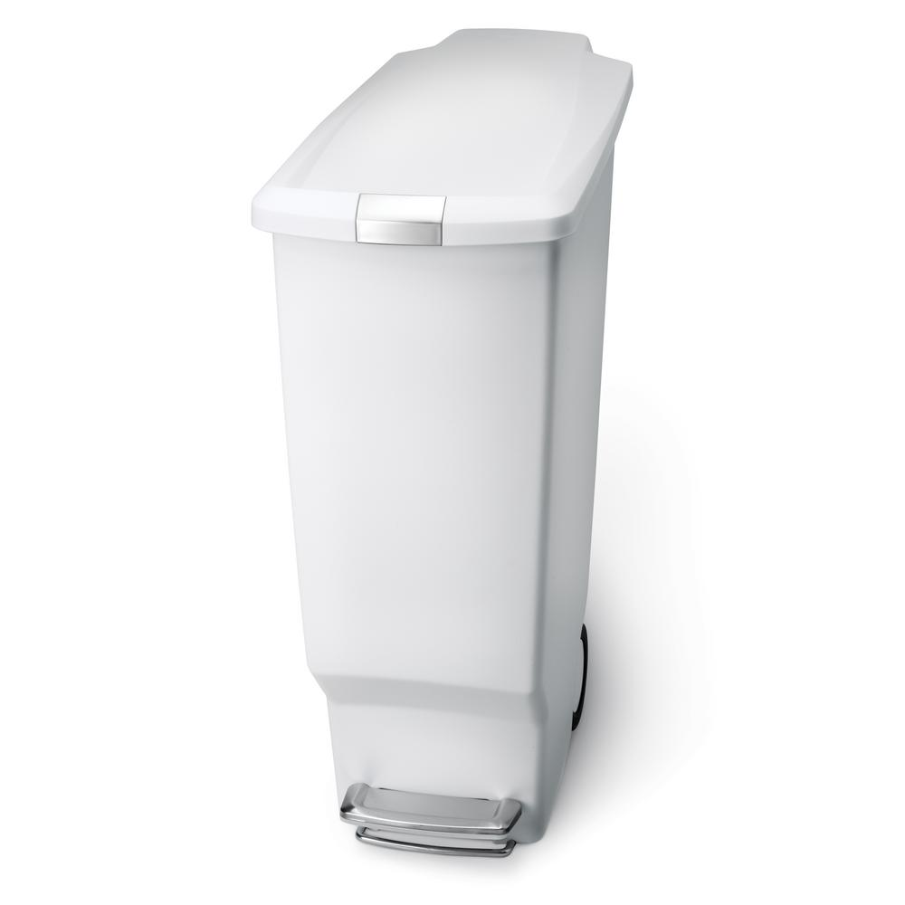 40-Liter White Plastic Slim Step-On Trash Can