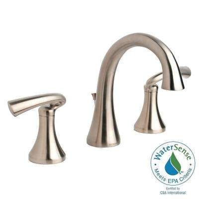 Brenna 8 in. Widespread 2-Handle Mid-Arc Bathroom Faucet in Satin Nickel