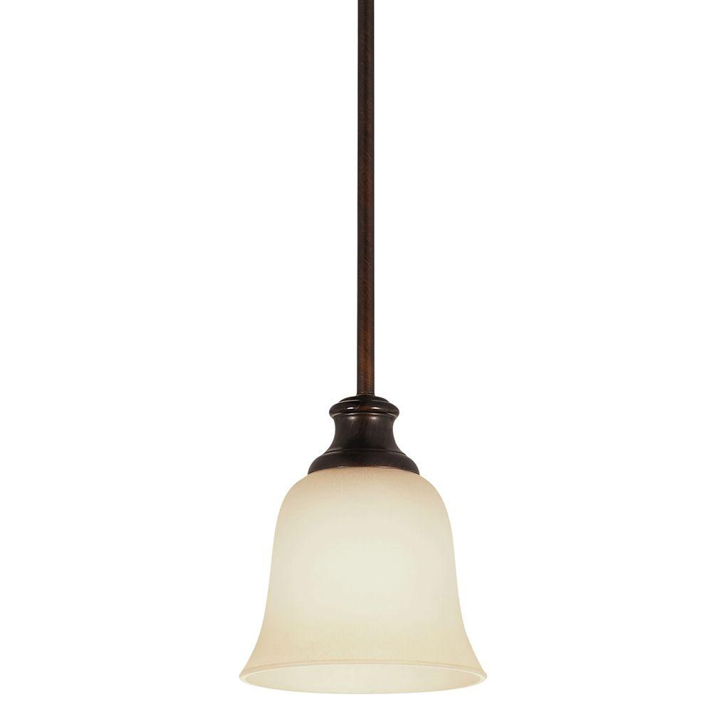 Sea Gull Lighting Park West 1-Light Burnt Sienna Mini Pendant with Cafe Tint Glass