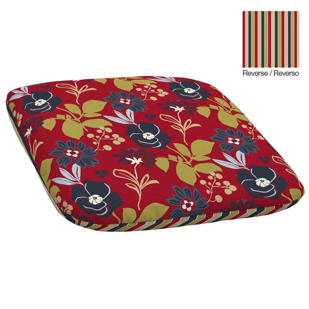 Hampton Bay Reversible Petite Modern Floral Outdoor Seat Pad-DISCONTINUED