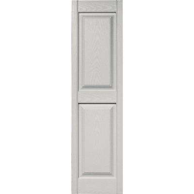 15 in. x 55 in. Raised Panel Vinyl Exterior Shutters Pair in #030 Paintable