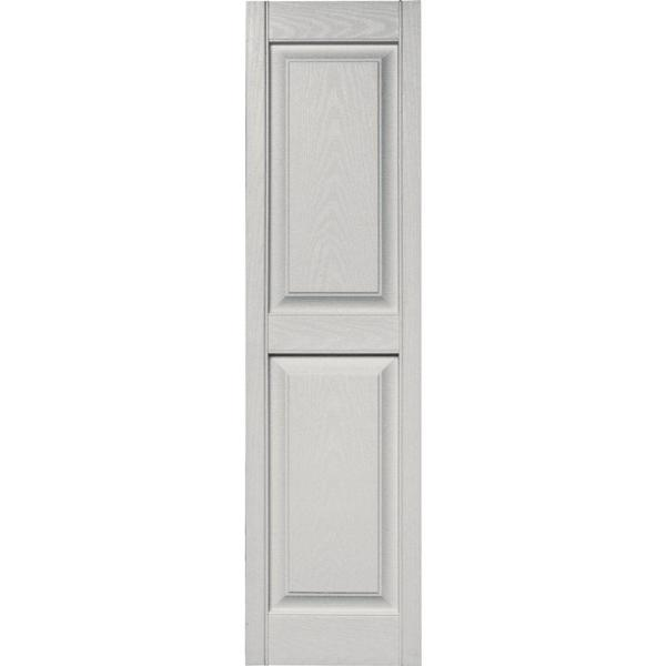 Builders Edge 15 In X 55 In Raised Panel Vinyl Exterior Shutters Pair In 030 Paintable 030140055030 The Home Depot
