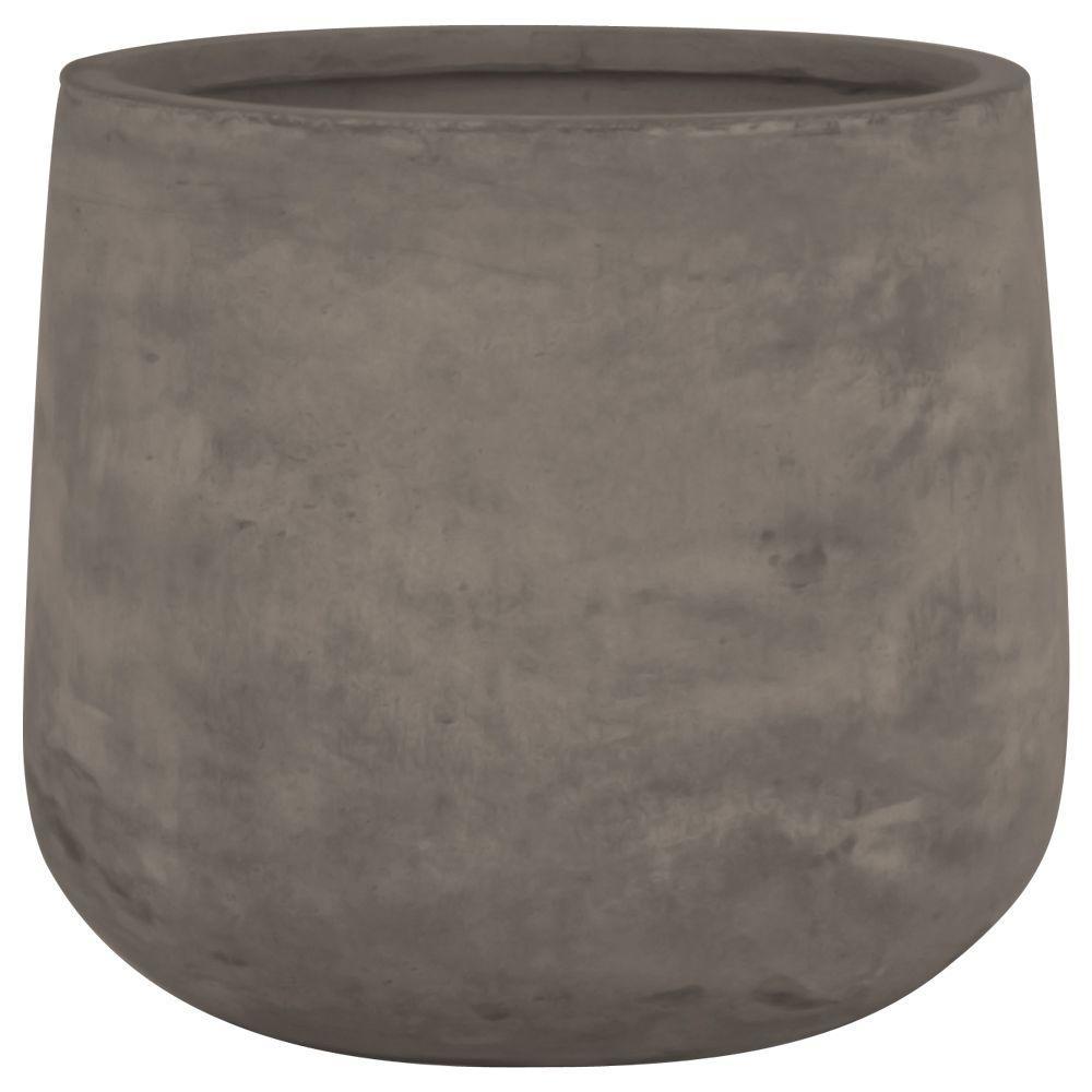 Origins Collection Stoney 17 in. Fiberclay Chocolate Round Planter