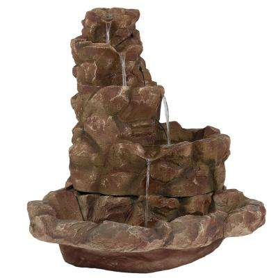 42 in. Lighted Stone Springs Water Fountain with LED Lights