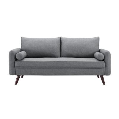 Callie 32.3 in. Grey Polyester 3-Seater Tuxedo Sofa with Removable Cushions
