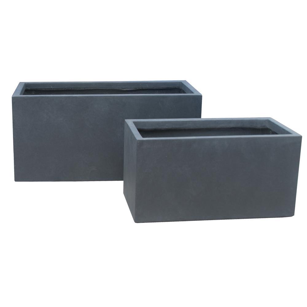 Lightweight Concrete Modern Long Low Granite Planter (Set of 2)